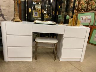 Vintage Seven Drawer White Desk or Vanity
