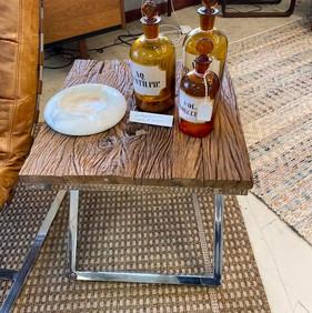 Set of 2 Wood & Metal Table