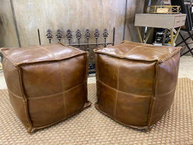 """Brown Leather 17"""" Square Cubes"""