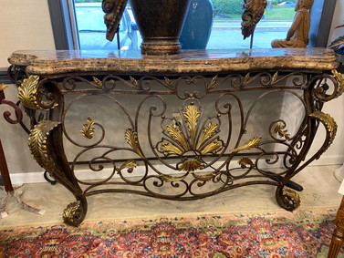 Wrought  Iron Console Table w/ Faux Marble Top