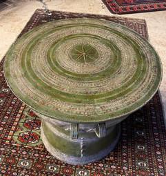 "Green Rain Drum Side Table w/ 36"" Glass Top"