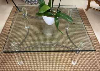 Glass Cocktail Table w/ Chrome & Lucite Base