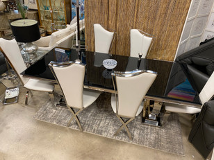 Contemporary Glass Top Dining Set w/ 6 Chrome Chairs