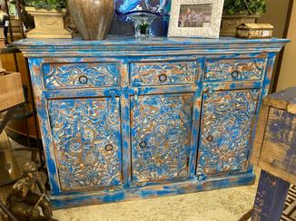 Blue 3 Drawer 3 Door Carved Wood Sideboard