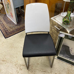 White & Black Leather Dining Chair