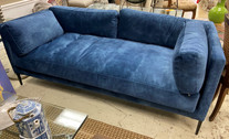 Modern Blue Velvet Sofa w/ Black Metal Legs