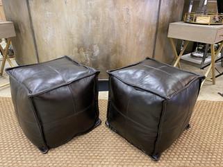 "Black Leather 17"" Square Cubes"
