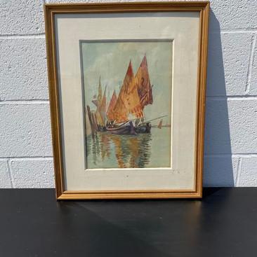 Watercolor of Sailboats 18 x 23 1/2