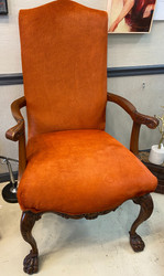 Presidential Fireside Chair w/ Mohair Fabric - Burnt Orange