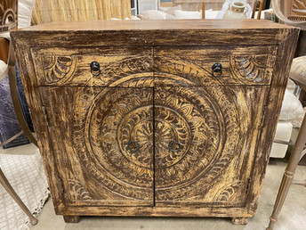 2 Door 2 Drawer Rustic Wood Cabinet