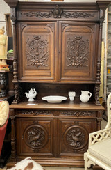 """Antique French Cabinet 8 ft 4"""" H x 24"""" D x 57 1/2"""" W"""