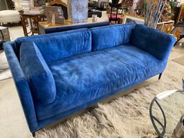 """74"""" Blue Cotton Velvet Sofa"""