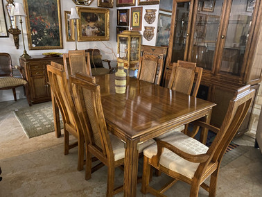 Thomasville Parsons Dining Room Table w/ 6 Caneback Chairs