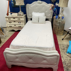 2 Silver Vinyl Twin Bed Frame