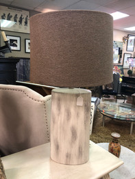 Pottery Base Lamp with Gray Linen Shade. 2 Available