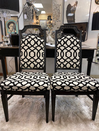 Black Dining Chair w/ Black & White Geometric Fabric
