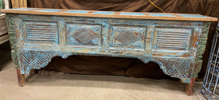 Blue Carved Wood Console Table