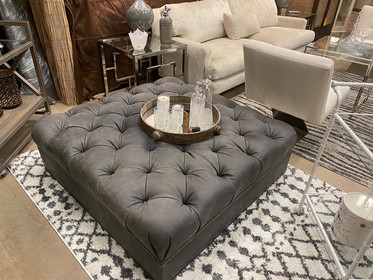 """48"""" Gray Leather Tufted Ottoman"""