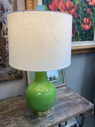 """Green Lamp w/ Blue Finial 29"""""""