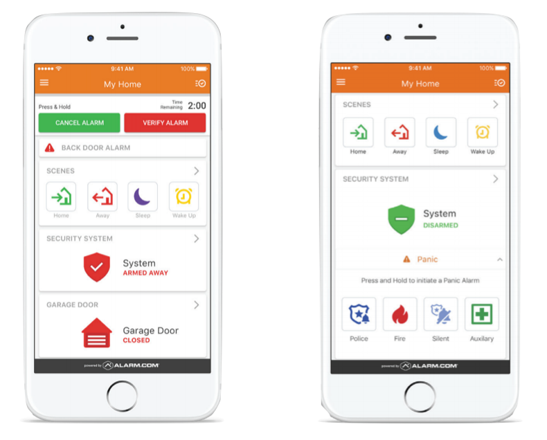 two phone images displaying the easy to use smart app for a smart home security system. Button opetions such as Home, Away, Sleep, Disarmed, Fire, Activity, Garage Door, are displayed to the customer.