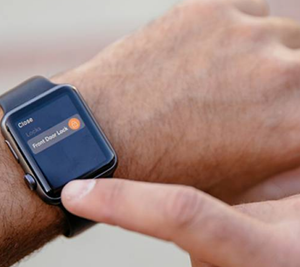 Apple Watch with option on screen saying Front Door Lock