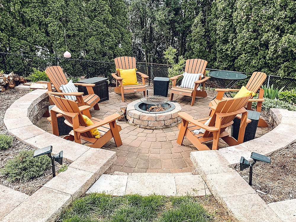 Patio inspiration, patio renovation, patio makeover, outdoor décor, outdoor living spaces, paver patio ideas, paver patio, hardscape inspiration, newline paver patio, dark inlay border patio, home styling blog, outdoor living, hampden bay patio furniture, home depot patio furniture, abba patio umbrella, wheat straw tableware, dining patio styling, outdoor tableware, outdoor planters, diy planter pots, farmhouse outdoor style, dining patio, conversation patio set, outdoor furniture, outdoor spaces, random pattern paver patio, outdoor styling, neutral color palette patio, concrete patio renovation, the rural legend, beautiful outdoor spaces, back yard inspiration, backyard retreat, patio retreat, SML outdoor living experts, firepit patio, sunken fire pit