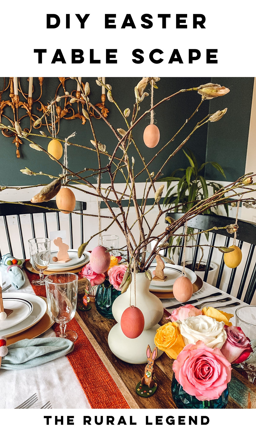 Easter table scape, easter diy, easter crafts, kid's easter crafts, family easter crafts, table scape diy, spring table scape, spring décor, easter décor, easter decorations, diy easter decorations, easter tree, diy napkin rings, diy place card holders, air dry clay crafts, pom pom crafts, wood crafts, natural dye recipes, natural dyed eggs, the rural legend, table scape styling, easter styling, diy blog, family blog, easter ideas, easter styling
