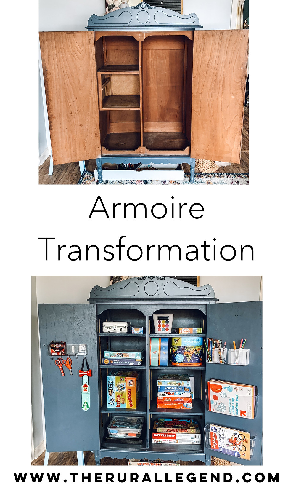 Playroom makeover, playroom storage ideas, antique armoire, refinishing antique furniture, armoire makeover, new uses for armoire, toy storage, lego storage ideas, playroom design, playroom inspiration, playroom styling, art station ideas, storage ideas for toys, kid spaces, kid play space inspiration, best kids toys, educational kids toys, how to refinish antique furniture, how to refinish veneer furniture, armoire transformation, diy home improvement ideas, easy diy home improvement, kid friendly spaces, kid friendly storage, the rural legend