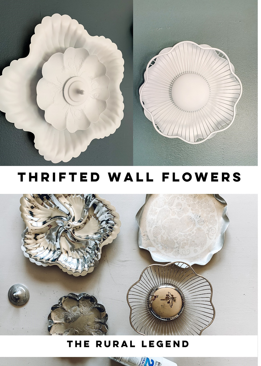 The rural legend, thrift store finds, thrifted diy, thrift store makeover, wall sculpture, diy wall sculpture, diy wall art, 3D wall art, wall flowers, hanging flowers, thrifted serve ware, diy home décor, diy blog, diy décor, dining room décor, children's room décor, diy ideas, budget friendly diy, new uses for old things, cheap diy, easy diy ideas, simple diy décor, white metal flowers, metal wall décor, #therurallegend, #rustoleum, #diyideas, #thrifteddecor, #newusesforoldthings