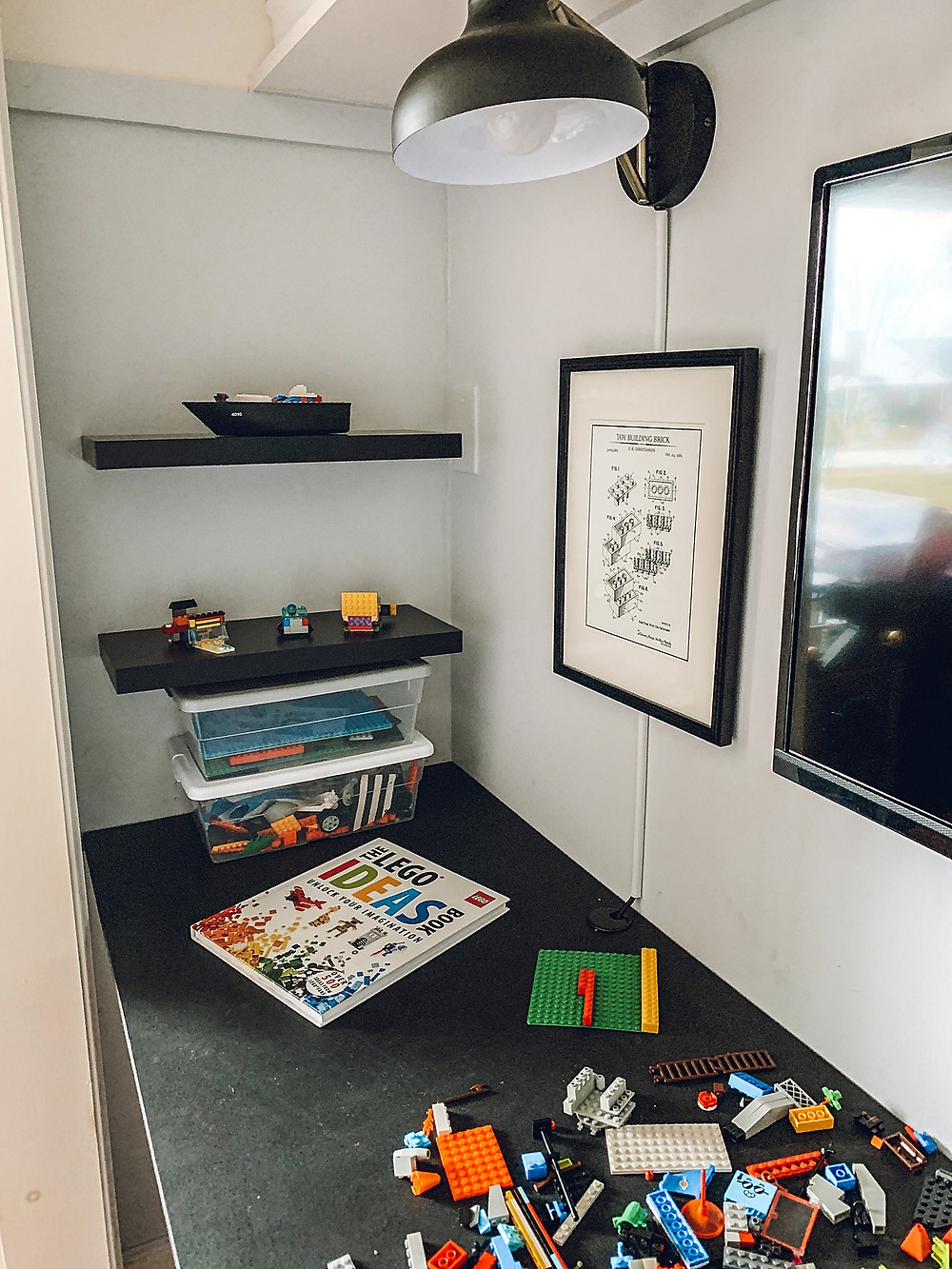 Playroom design, playroom inspiration, diy playroom, playroom ideas, lego table, diy floating desk, cloffice, playroom storage, toy storage, playroom rugs, playroom furniture, weekend project, kid spaces, children's spaces, play space, playroom styling, playroom style, refinished furniture ideas, room design on a budget, styling with what you already have, choosing home décor, lego storage, floating desk tutorial, design on a budget, kids play space, lego building table, DIY lego table, DIY lego desk, lego play room
