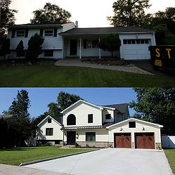 Before and after, the front of a fully renovated home.