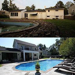Before and after, a fully renovated backyard with pool.