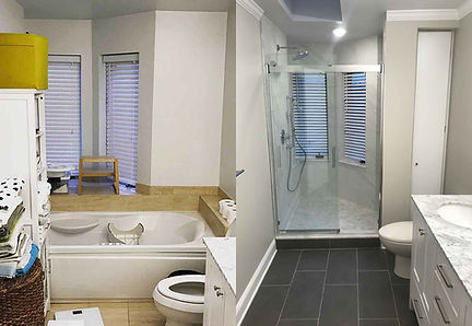 Before and after, a full bathroom.