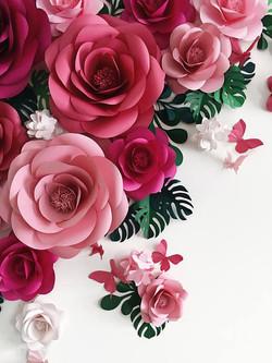 fleurs papiers déco murale