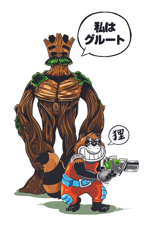 """11x17"""" Rocket and Groot"""