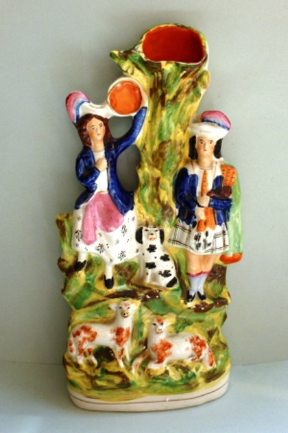 LARGE 19THC COLOURFUL STAFFORDSHIRE
