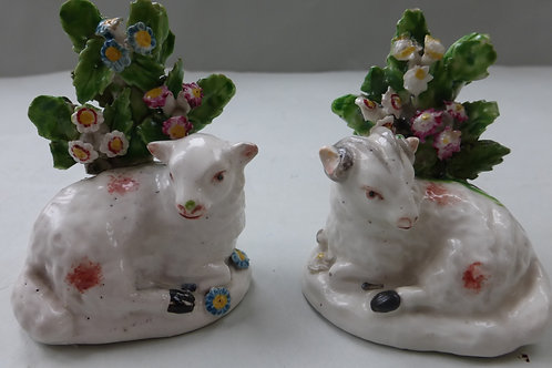 EARLY 19THC STAFFORDSHIRE DERBY OF RAM AND LAMB