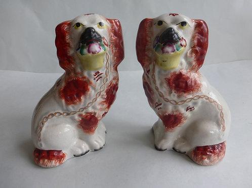 Pair 19thc. Staffordshire Flower Basket Dogs c.1850 Ref # 4592