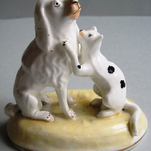 EXCELLENT 19THC PORCELAIN GROUP OF DOG AND CAT SAMUEL ALCOCK