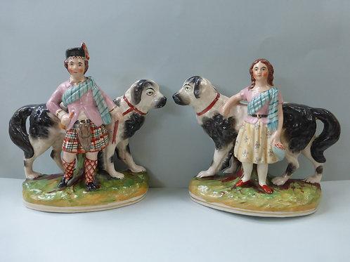 SUPERB PAIR STAFFORDSHIRE 19THC. STAFFORDSHIRE CHILDREN WITH ST BERNARD DOGS