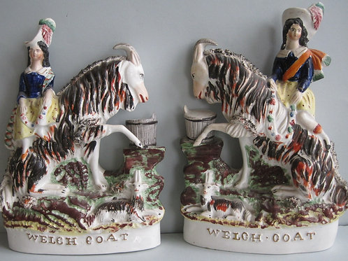 VERY RARE PAIR 19THC STAFFORDSHIRE FIGURES TITLED WELSH GOATS