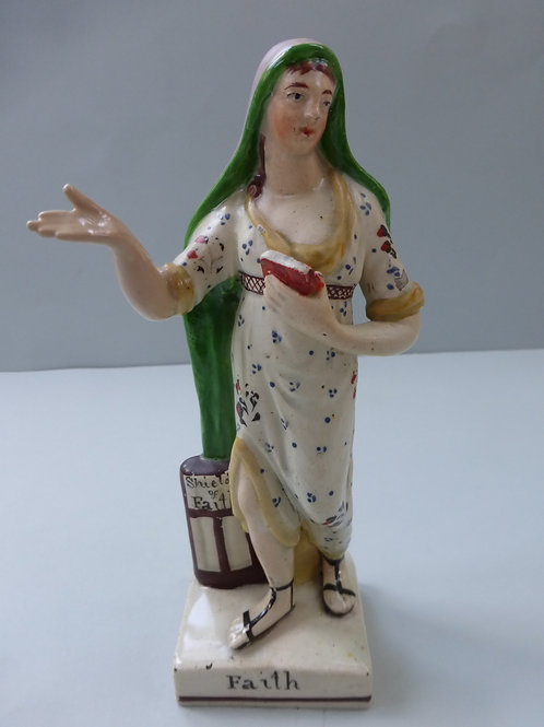 19THC STAFFORDSHIRE PEARLWARE FIGURE TITLED FAITH
