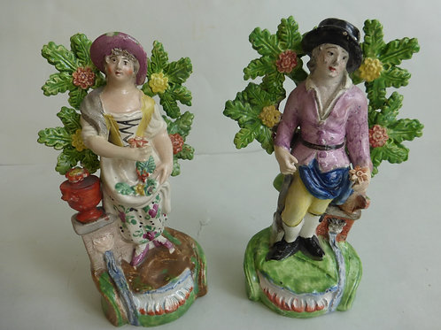 PAIR EARLY 19THC PEARLWARE STAFFORDSHIRE GARDENERS