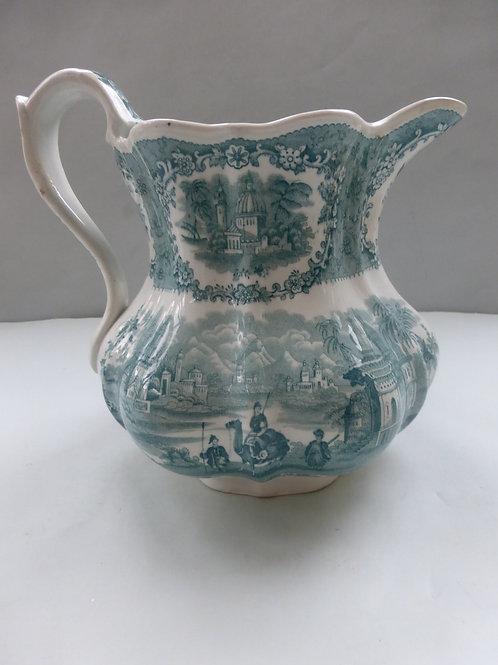 LARGE MID 19THC. STAFFORDSHIRE GREEN TRANSFER JUG C.1840