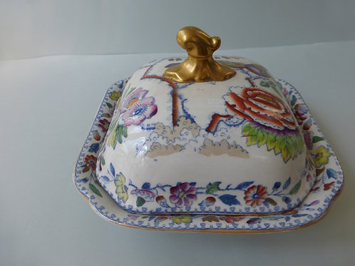 19THC. MASONS IRONSTONE VEGETABLE TUREEN WITH COVER FLYING BIRD PATTERN