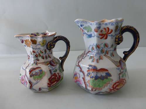 2 OFF MASONS IRONSTONE JUGS IN FLYING BIRD PATTERN C.1890