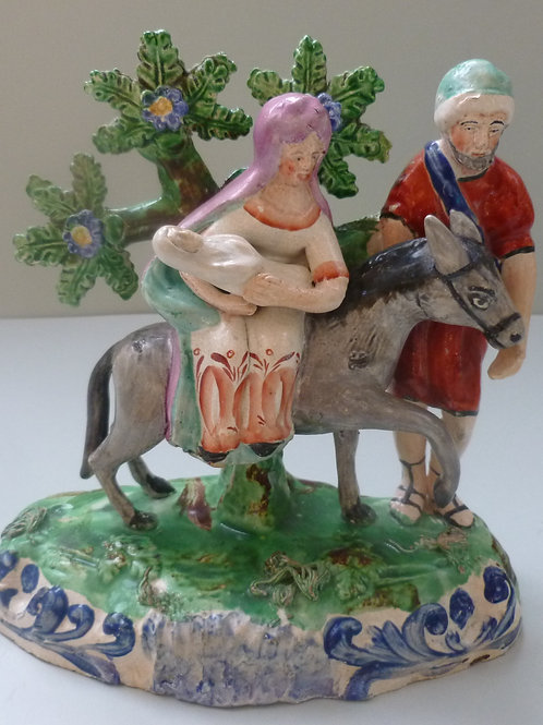 19THC PEARLWARE STAFFORDSHIRE FLIGHT TO EGYPT
