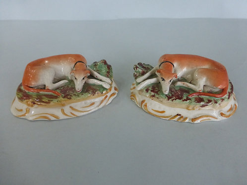 PAIR OF LATE STAFFORDSHIRE GREYHOUNHDS #4124