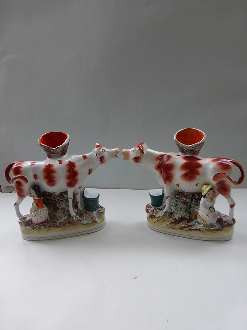 MATCHED PAIR 19THC. STAFFORDSHIRE COW SPILL VASES