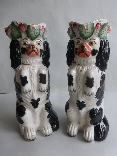 Unusual pair of 19thc. B/W Staffordshire Dog Jugs c.1850 Ref # 4446